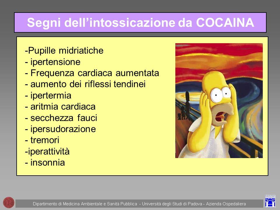 Segni dell'intossicazione da COCAINA