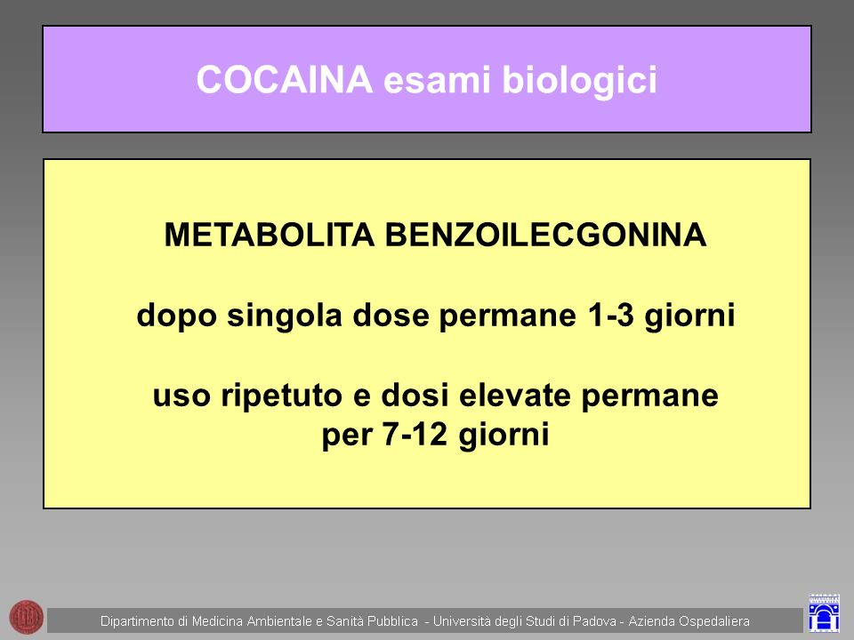COCAINA esami biologici