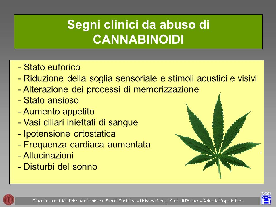 Segni clinici da abuso di CANNABINOIDI