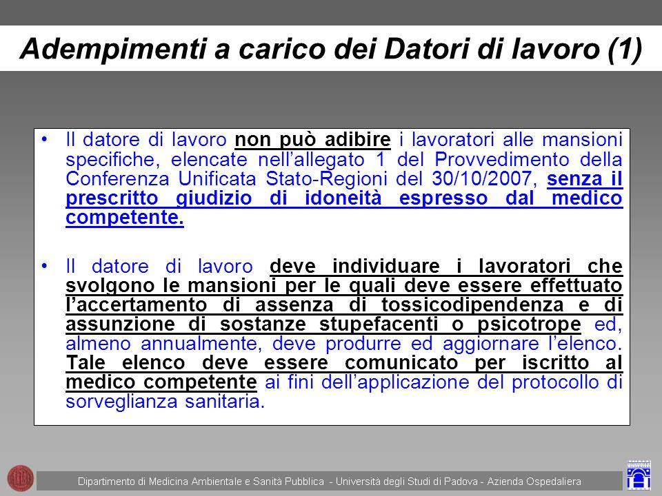 Adempimenti a carico dei Datori di lavoro (1)