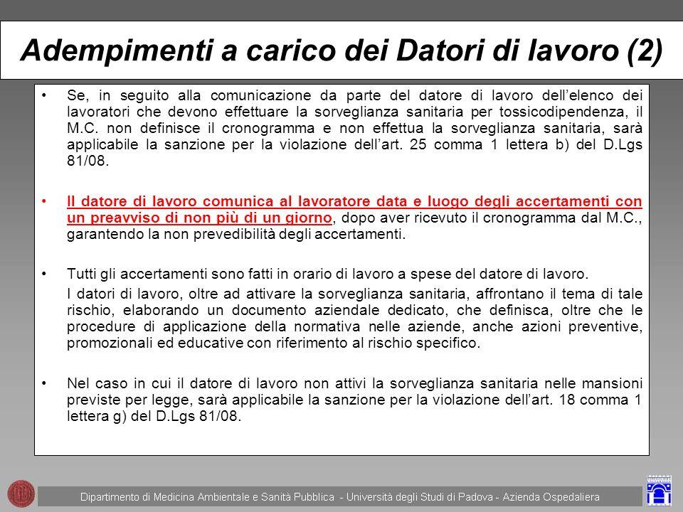 Adempimenti a carico dei Datori di lavoro (2)