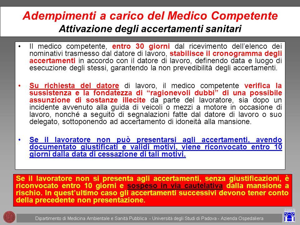 Adempimenti a carico del Medico Competente Attivazione degli accertamenti sanitari