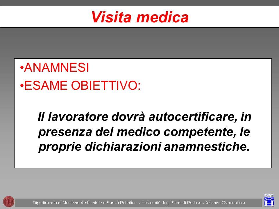 Visita medica ANAMNESI ESAME OBIETTIVO: