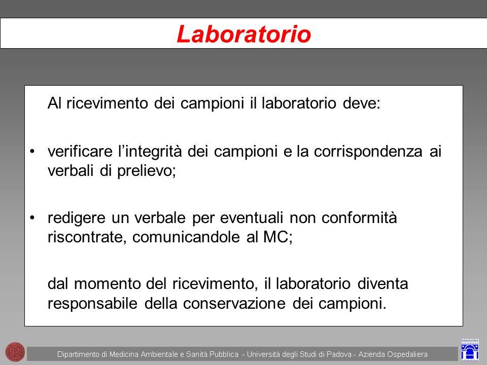 Laboratorio Al ricevimento dei campioni il laboratorio deve: