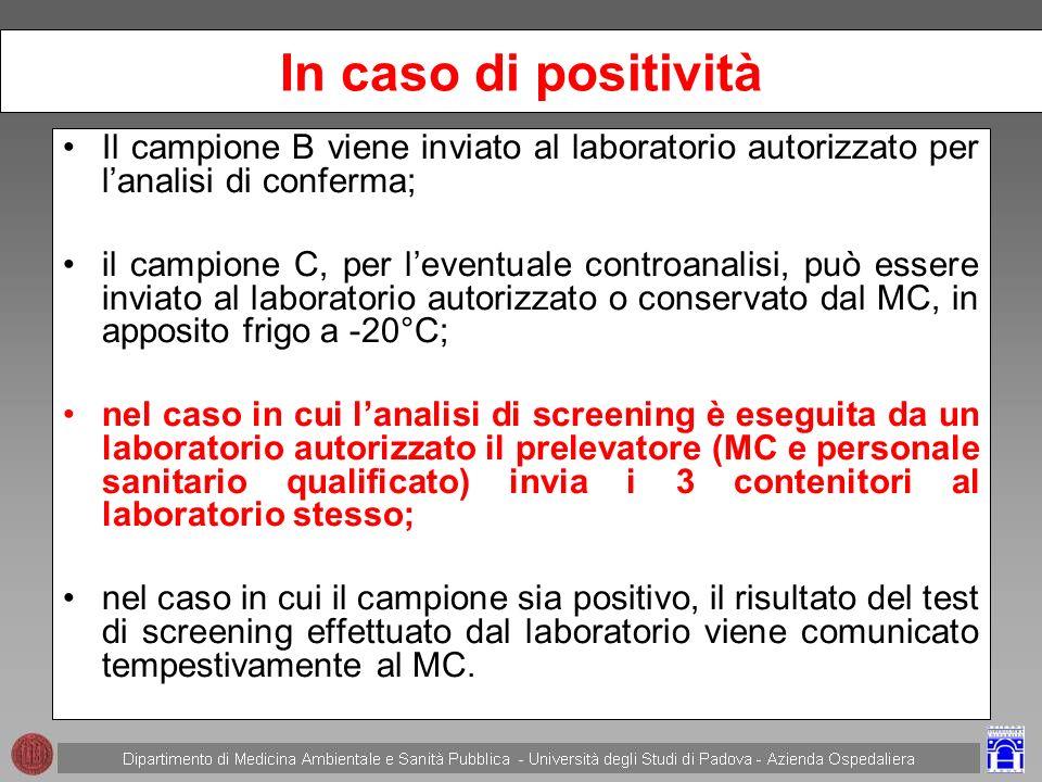 In caso di positività Il campione B viene inviato al laboratorio autorizzato per l'analisi di conferma;