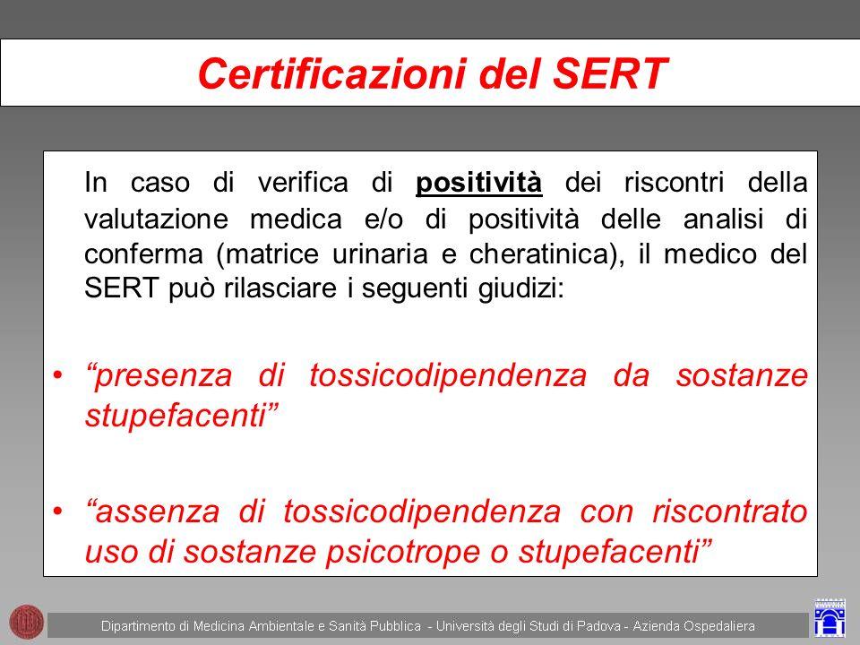 Certificazioni del SERT