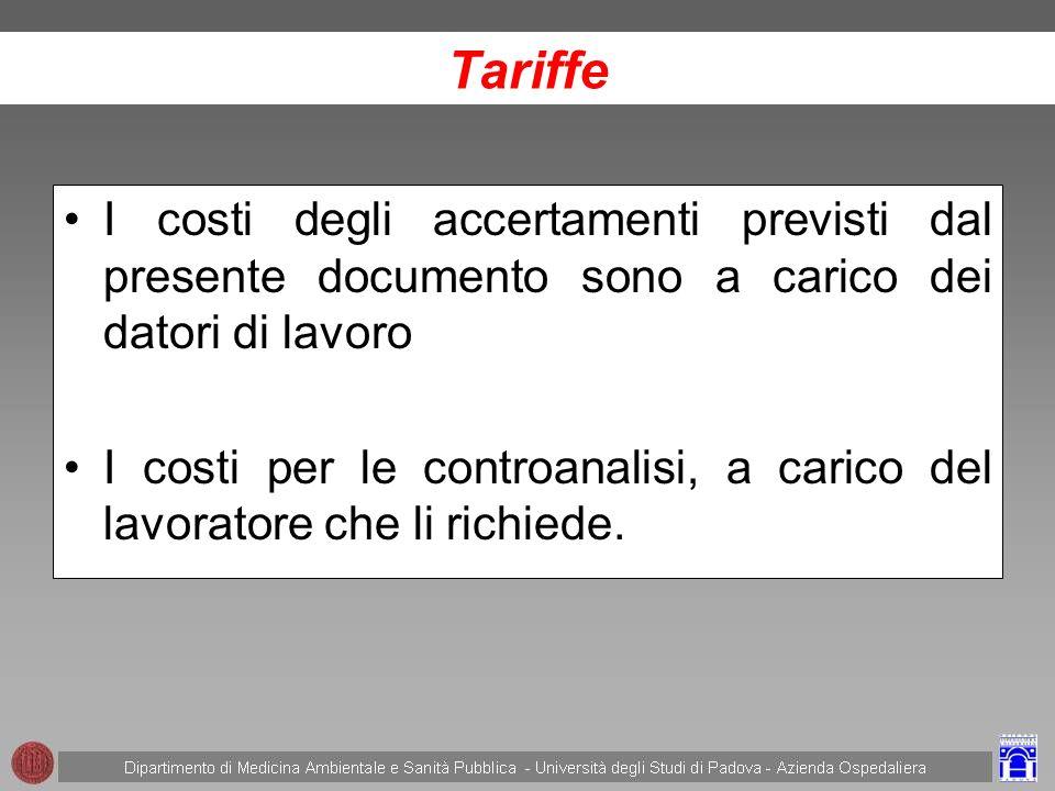 Tariffe I costi degli accertamenti previsti dal presente documento sono a carico dei datori di lavoro.
