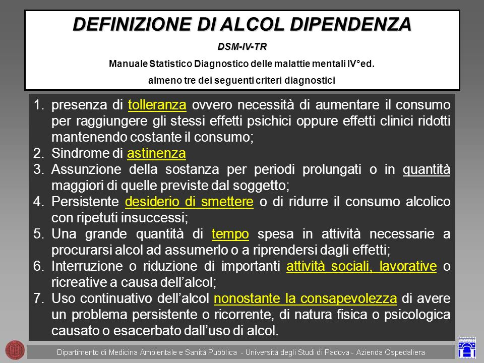 DEFINIZIONE DI ALCOL DIPENDENZA