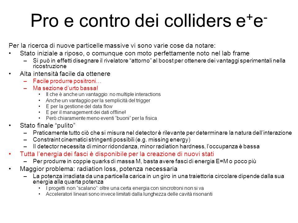 Pro e contro dei colliders e+e-