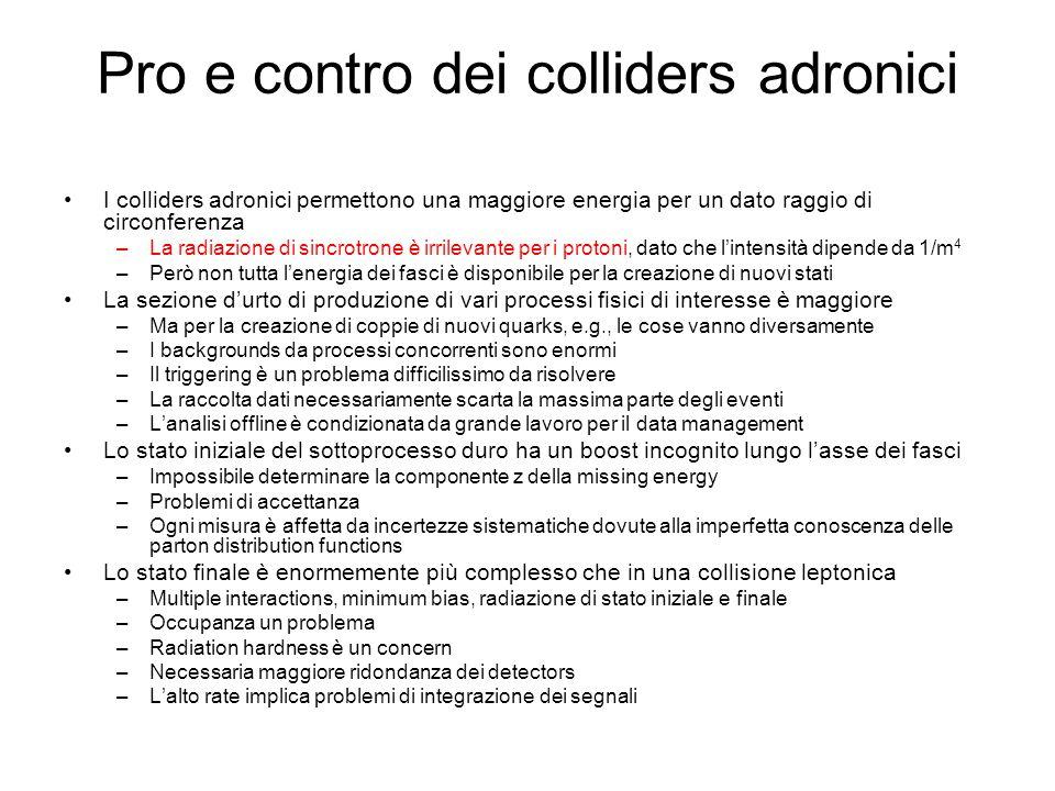 Pro e contro dei colliders adronici