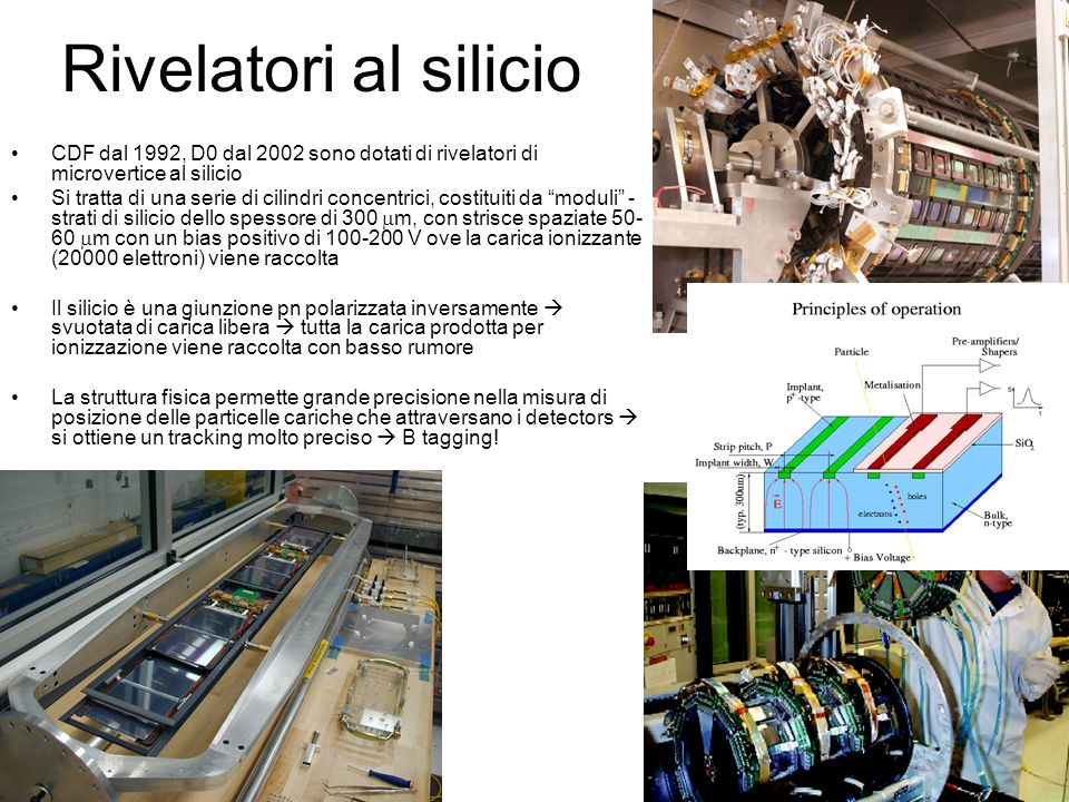 Rivelatori al silicioCDF dal 1992, D0 dal 2002 sono dotati di rivelatori di microvertice al silicio.