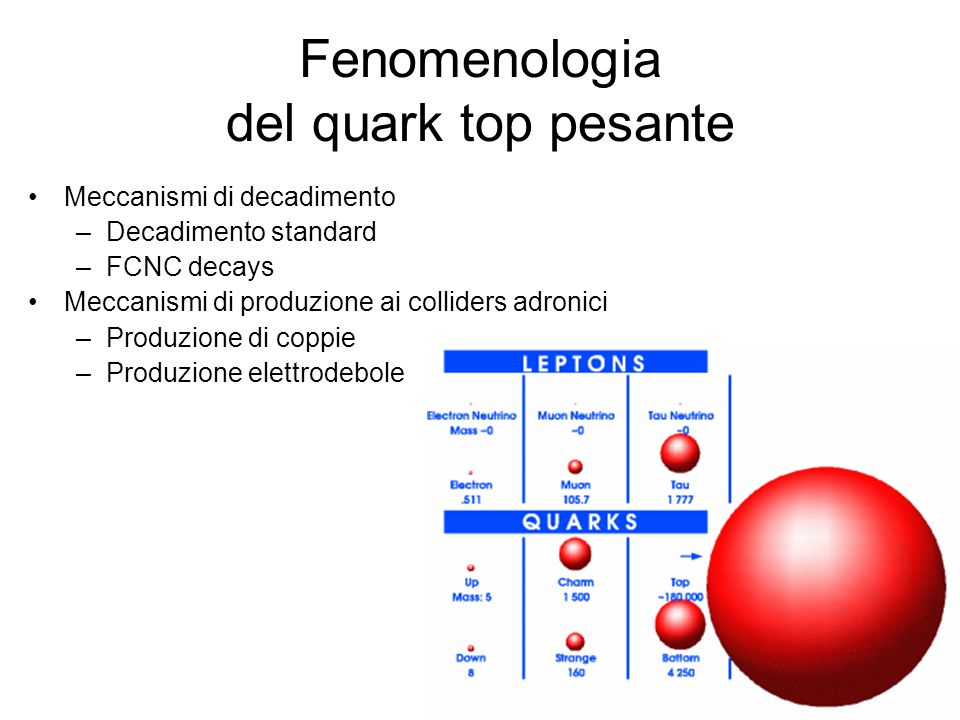 Fenomenologia del quark top pesante