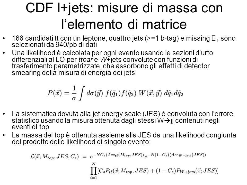 CDF l+jets: misure di massa con l'elemento di matrice