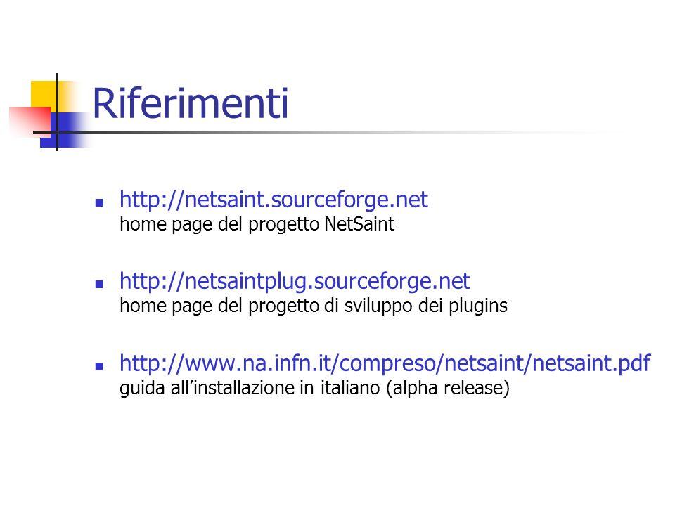 Riferimenti http://netsaint.sourceforge.net home page del progetto NetSaint.