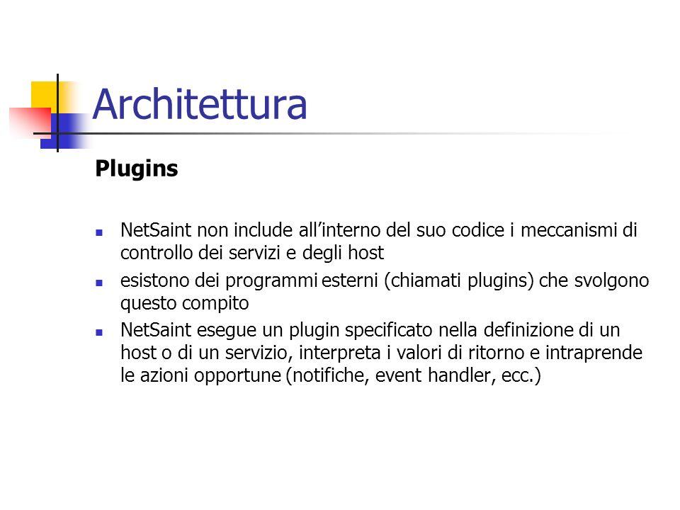 Architettura Plugins. NetSaint non include all'interno del suo codice i meccanismi di controllo dei servizi e degli host.