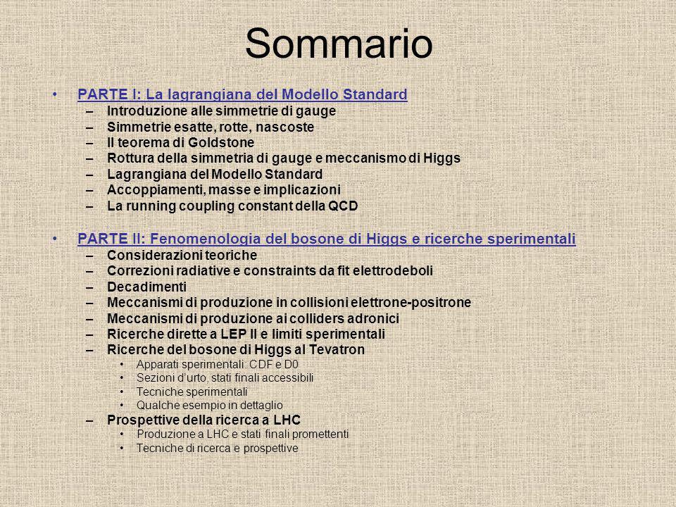 Sommario PARTE I: La lagrangiana del Modello Standard