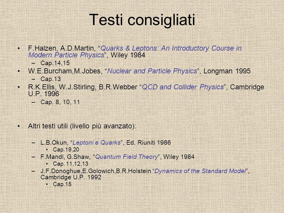 Testi consigliati F.Halzen, A.D.Martin, Quarks & Leptons: An Introductory Course in Modern Particle Physics , Wiley 1984.
