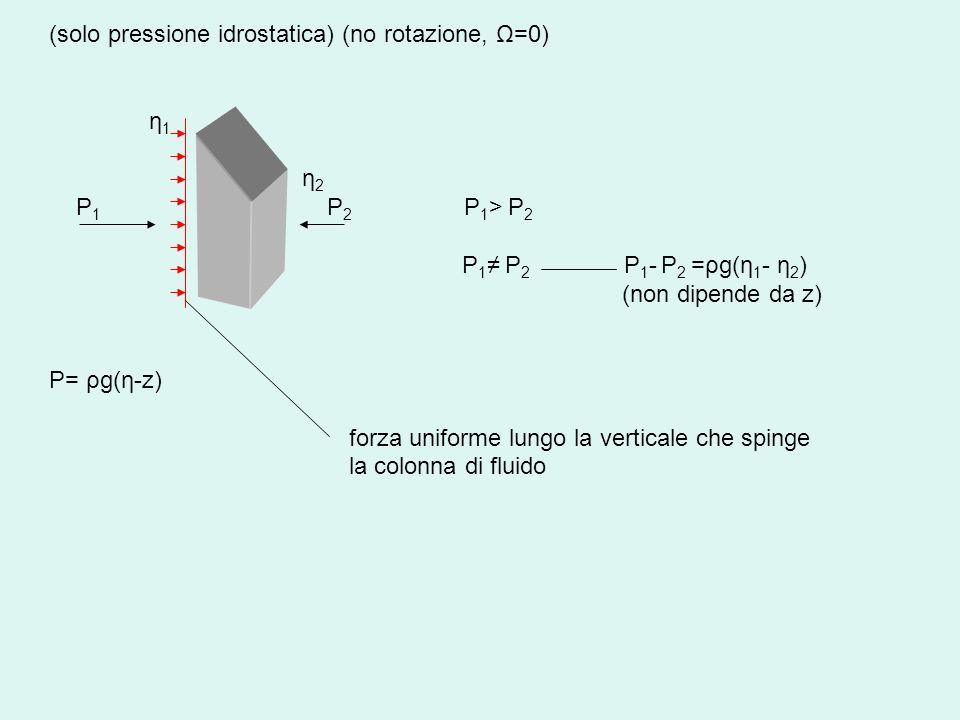 (solo pressione idrostatica) (no rotazione, Ω=0)