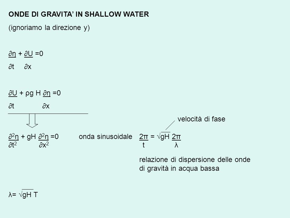 ONDE DI GRAVITA' IN SHALLOW WATER