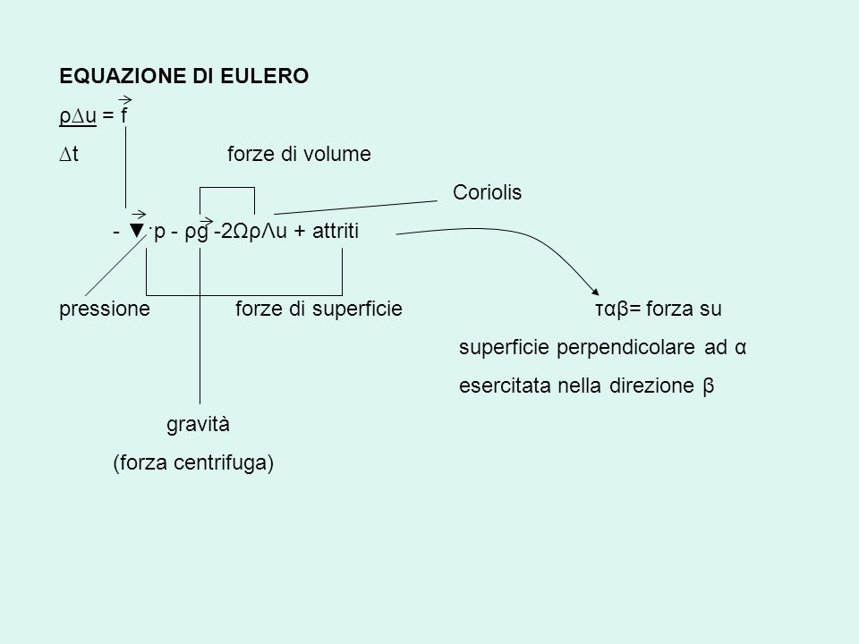 EQUAZIONE DI EULERO ρ∆u = f. ∆t forze di volume. Coriolis. - ▼·p - ρg -2ΩρΛu + attriti.