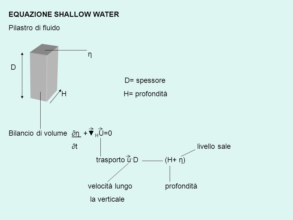 EQUAZIONE SHALLOW WATER