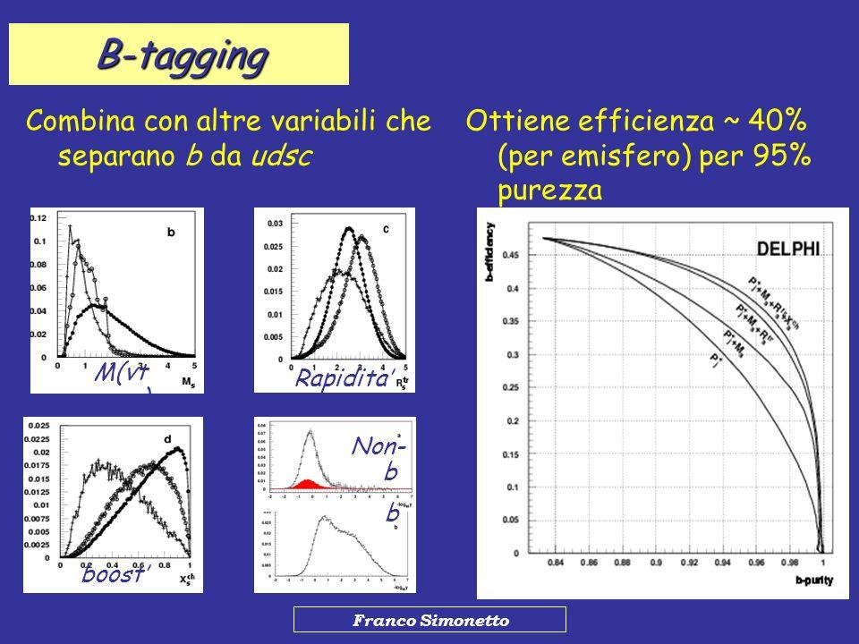 B-tagging Combina con altre variabili che separano b da udsc