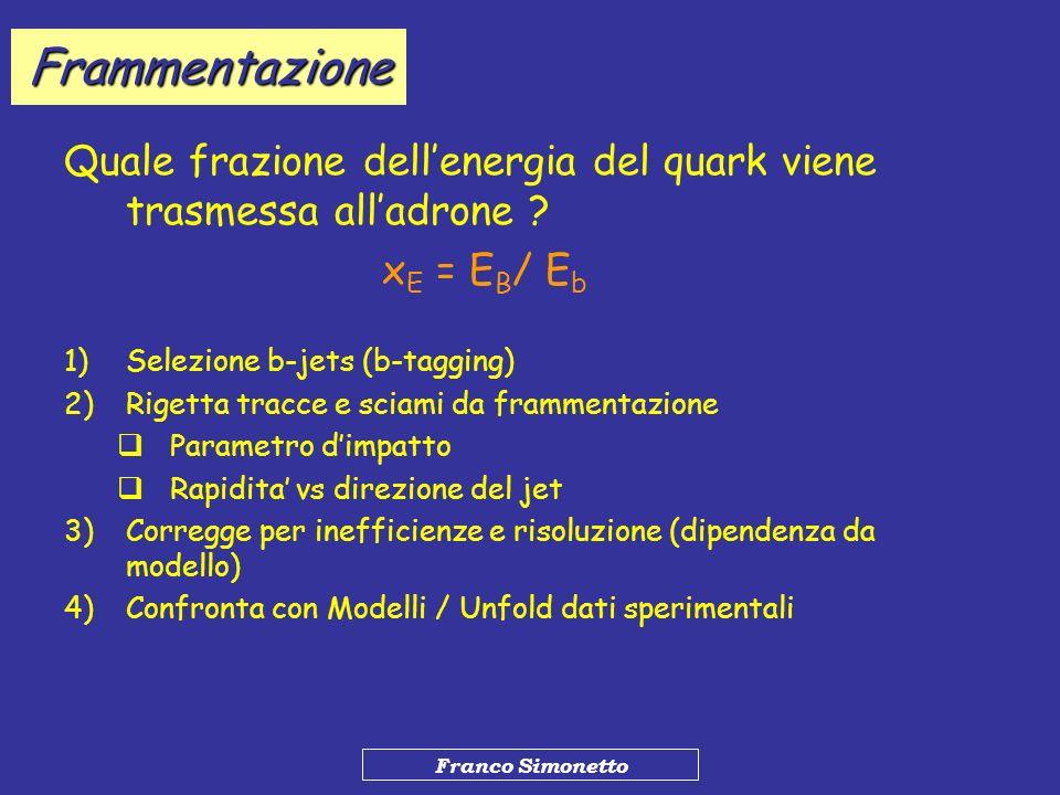 Frammentazione Quale frazione dell'energia del quark viene trasmessa all'adrone xE = EB/ Eb. Selezione b-jets (b-tagging)