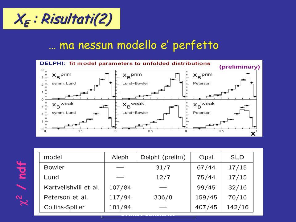 XE : Risultati(2) … ma nessun modello e' perfetto c2 / ndf