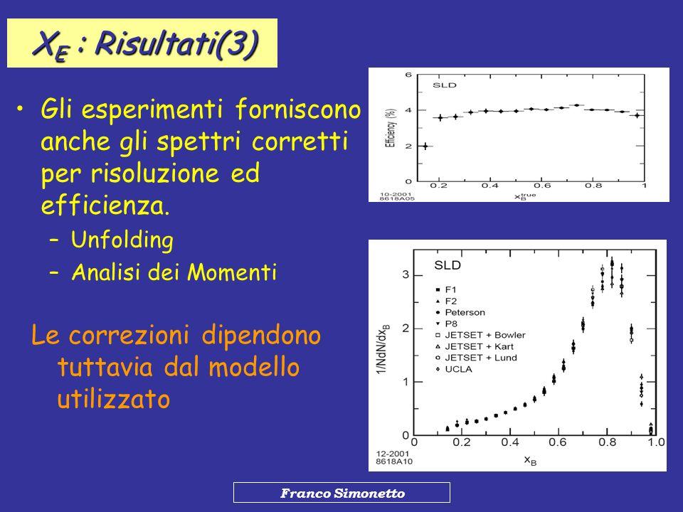 XE : Risultati(3) Gli esperimenti forniscono anche gli spettri corretti per risoluzione ed efficienza.