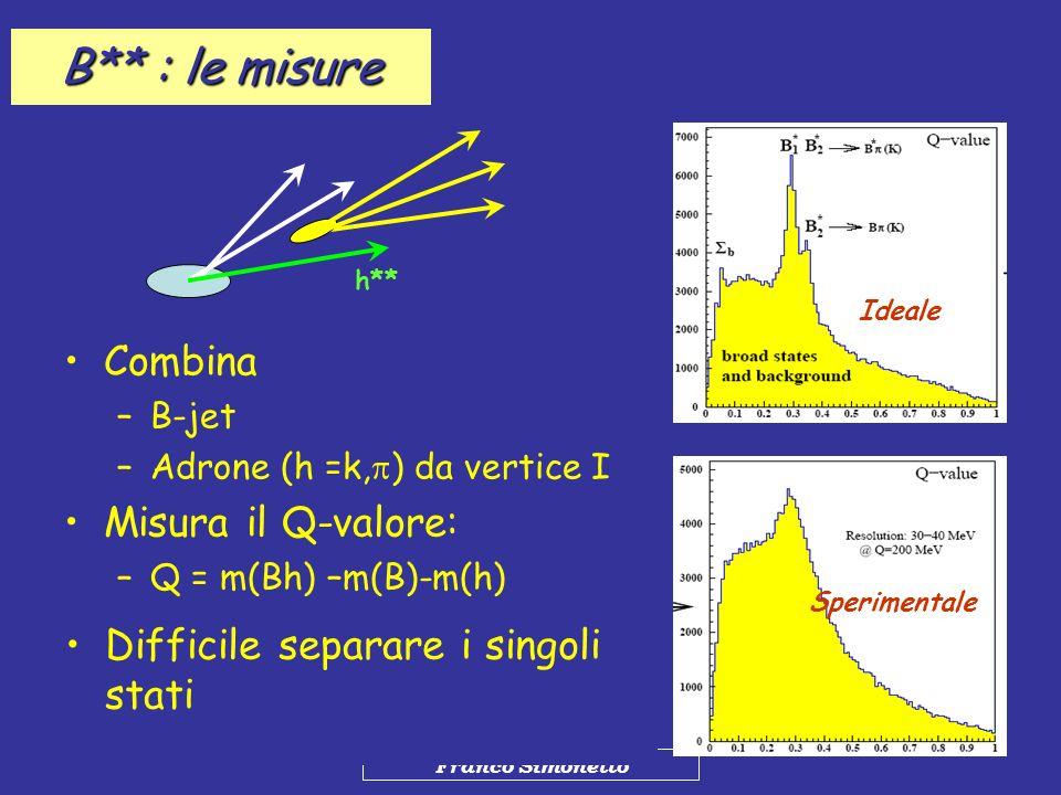 B** : le misure Combina Misura il Q-valore: