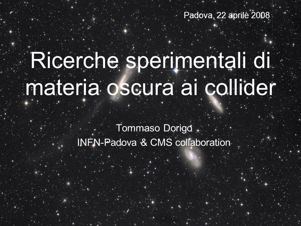 Ricerche sperimentali di materia oscura ai collider