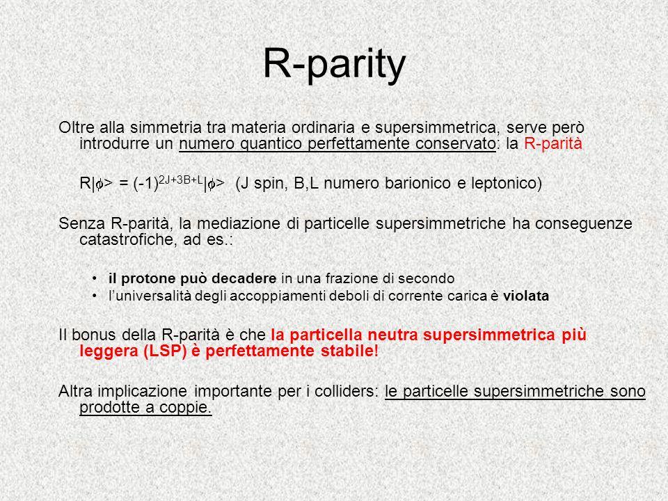 R-parity Oltre alla simmetria tra materia ordinaria e supersimmetrica, serve però introdurre un numero quantico perfettamente conservato: la R-parità.