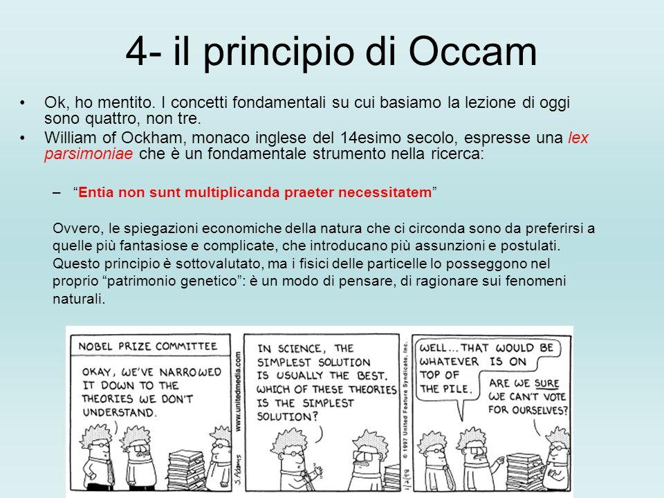 4- il principio di Occam Ok, ho mentito. I concetti fondamentali su cui basiamo la lezione di oggi sono quattro, non tre.