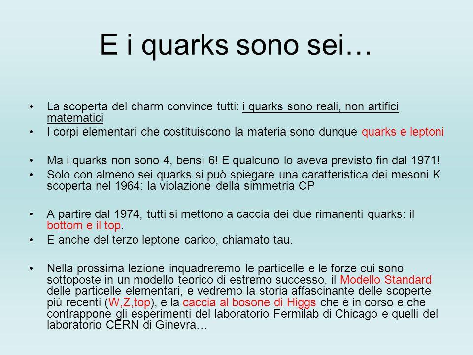 E i quarks sono sei… La scoperta del charm convince tutti: i quarks sono reali, non artifici matematici.