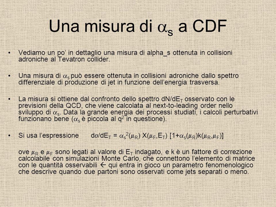 Una misura di as a CDF Vediamo un po' in dettaglio una misura di alpha_s ottenuta in collisioni adroniche al Tevatron collider.