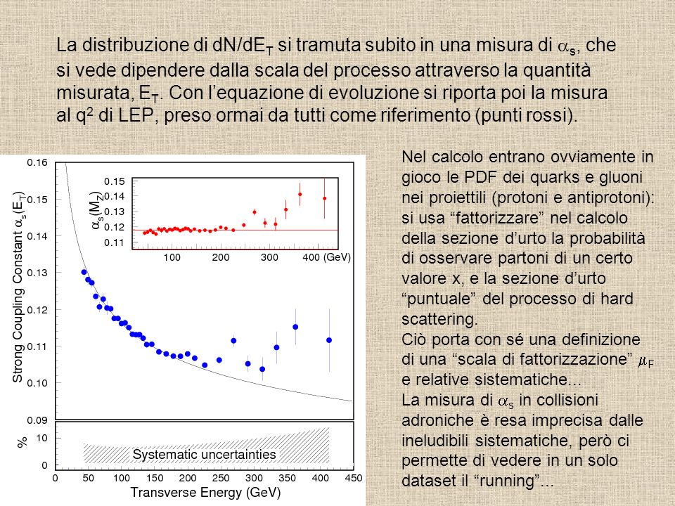 La distribuzione di dN/dET si tramuta subito in una misura di as, che si vede dipendere dalla scala del processo attraverso la quantità misurata, ET. Con l'equazione di evoluzione si riporta poi la misura al q2 di LEP, preso ormai da tutti come riferimento (punti rossi).