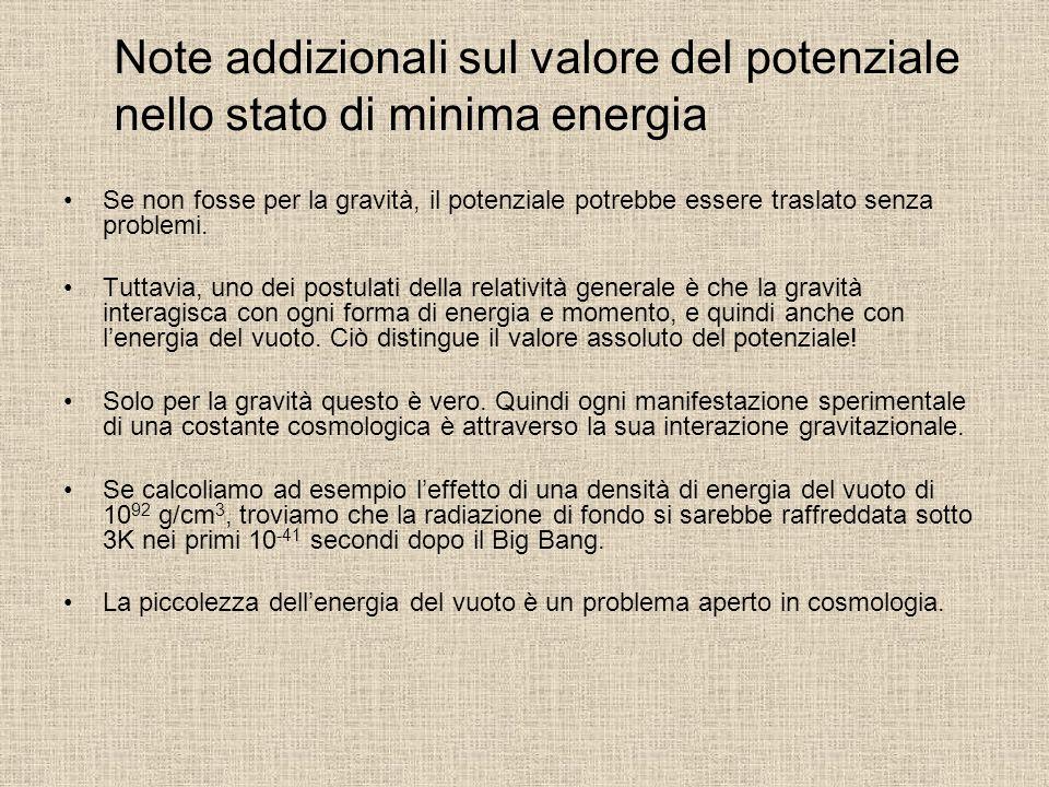 Note addizionali sul valore del potenziale