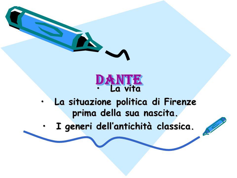 Dante La vita. La situazione politica di Firenze prima della sua nascita.