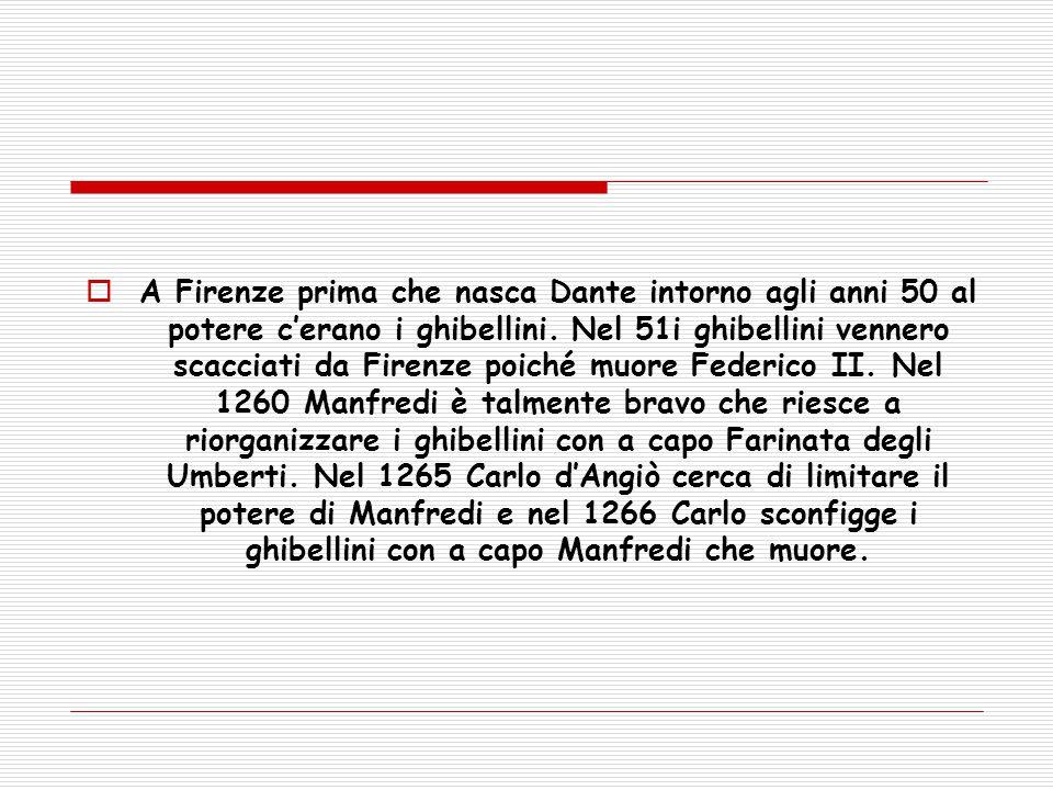 A Firenze prima che nasca Dante intorno agli anni 50 al potere c'erano i ghibellini.