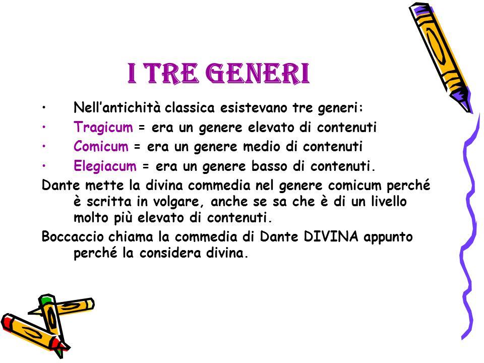 I tre generi Nell'antichità classica esistevano tre generi: