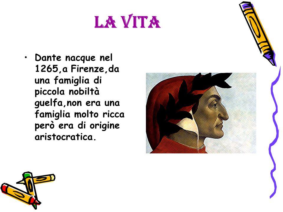 La vita Dante nacque nel 1265,a Firenze,da una famiglia di piccola nobiltà guelfa,non era una famiglia molto ricca però era di origine aristocratica.