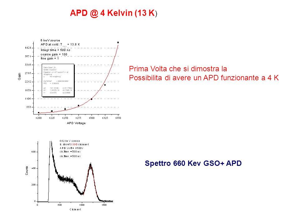 APD @ 4 Kelvin (13 K) Prima Volta che si dimostra la
