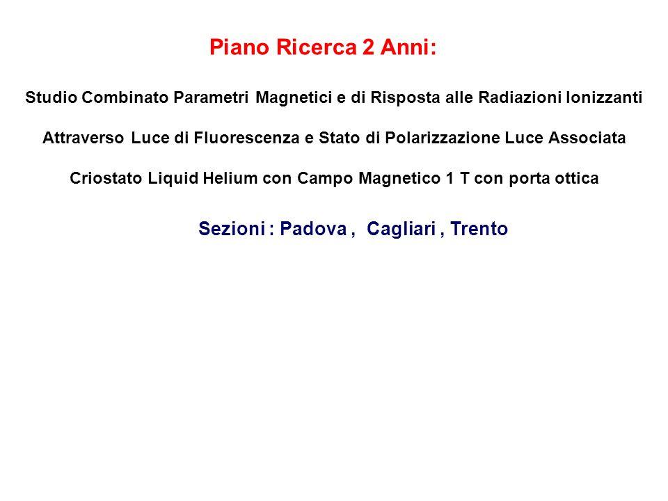 Piano Ricerca 2 Anni: Sezioni : Padova , Cagliari , Trento
