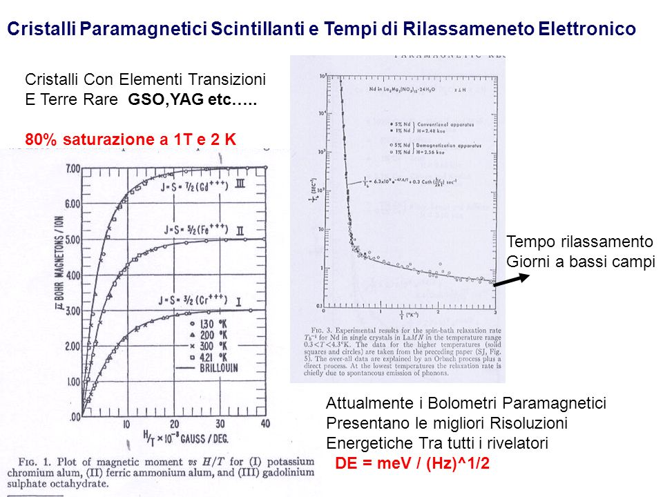 Cristalli Paramagnetici Scintillanti e Tempi di Rilassameneto Elettronico