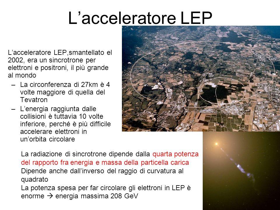 L'acceleratore LEP L'acceleratore LEP,smantellato el 2002, era un sincrotrone per elettroni e positroni, il più grande al mondo.