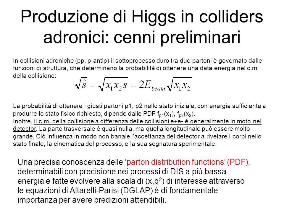 Produzione di Higgs in colliders adronici: cenni preliminari
