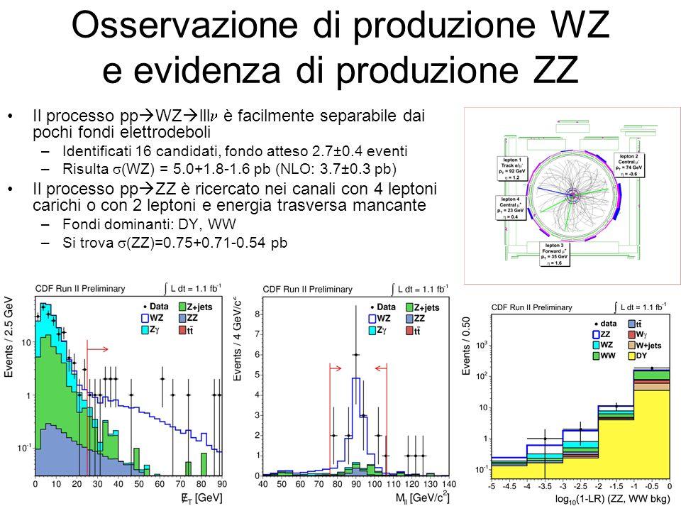 Osservazione di produzione WZ e evidenza di produzione ZZ