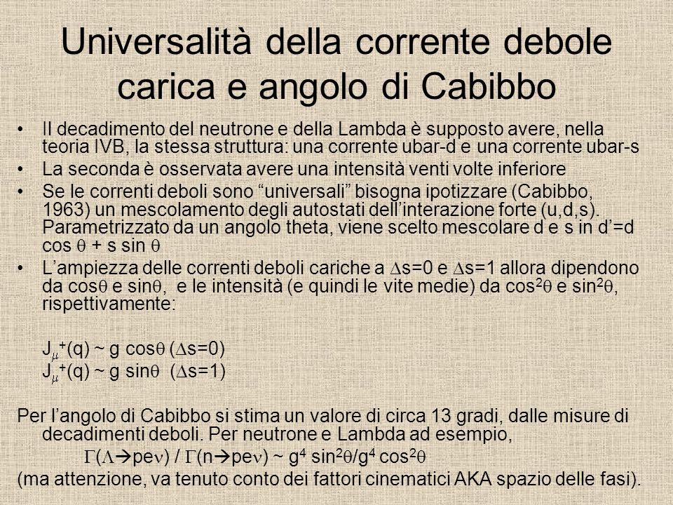 Universalità della corrente debole carica e angolo di Cabibbo
