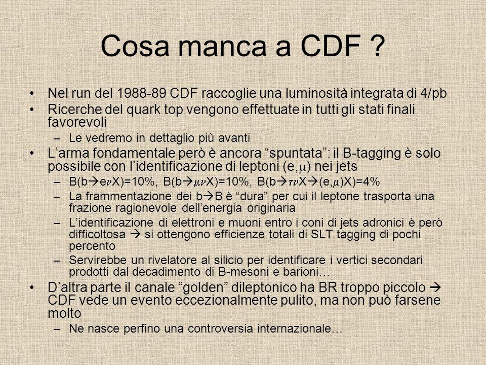 Cosa manca a CDF Nel run del 1988-89 CDF raccoglie una luminosità integrata di 4/pb.