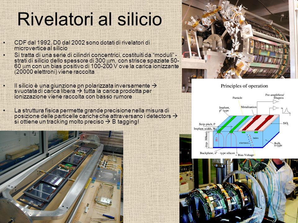 Rivelatori al silicio CDF dal 1992, D0 dal 2002 sono dotati di rivelatori di microvertice al silicio.